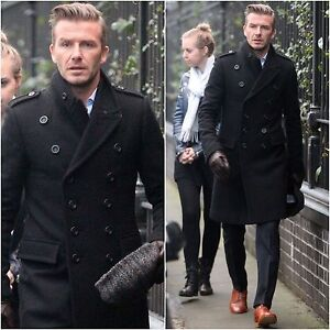 MEN'S STYLISH LONG DOUBLE BREASTED TRENCH OVERCOAT PEA COAT BRAND NEW