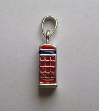 Argento Sterling 925 smaltato cabina telefonica rossa ciondolo 2,61 g