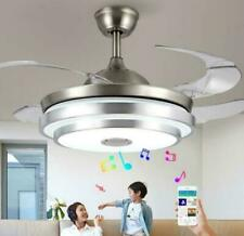 """42"""" Bluetooth Invisible Fan Led Ceiling Light Music Player Chandelier+Remote Us"""