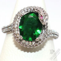 Vintage Oval Green Emerald Ring Women Jewelry Gift 14K White Gold Plated