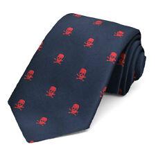 """Skull and Crossbones Navy Blue Necktie, 3"""" Width"""