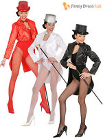 Ladies Satin Tailcoat Adults Dance Cabaret Circus Fancy Dress Costume Accessory