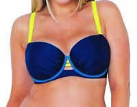 Curvy Kate Womens Swimwear Blue Size 34L Underwire Cutout Bikini Top $80- 981