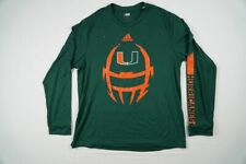 Miami Hurricanes adidas Long Sleeve Shirt Men's Green Poly Used Multiple Sizes