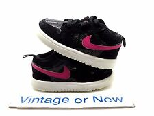 Girls Nike Air Jordan I 1 Low Black Pink Foil White TD 2013 sz 5C