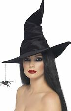 Smiffy's Witch Hat Velour and Spider - Black multicoloured