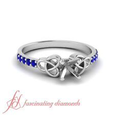 Petite Celtic Engagement Ring Settings With Round Cut Sapphire Gemstone 0.15 Ctw