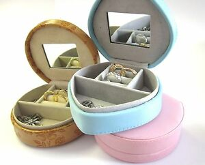 Cute Jewellery Box Vanity-Compartments-Mirror-Travel-Gift-Birthday-2 Shapes-Girl