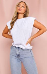 Misspap Shoulder Pad T-Shirt Grey UK 8