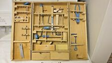 Older Made in Poland Child Carpenter Tool Set-Wood Hinged Box