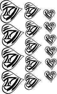Zebra Hearts in wall vinyl teen tween animal print girls bedroom decor decal art