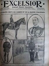 WW1 ITALIE GRAND CHEF ARMéE ET MARINE LA BELGIQUE EN FRANCE EXCELSIOR 20/05/1915