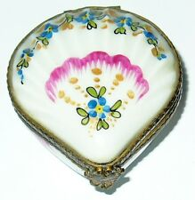 LIMOGES BOX - PARRY-VIEILLE - VINTAGE FLORAL CLAM SHELL - SEASHELLS - SEA SHELLS