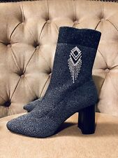d5b6d0da7844 New Zara Silver Gray Embellished Sock Ankle Boots Size 10