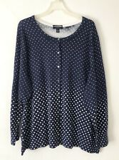 NEW Lands' End 1X 2X 3X L/S Sweater Cardigan Polka dots 100% Cotton Blue/White