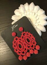 Sold Out New$49.50 Bright Papaya J.Crew Beaded Crochet Statement Earrings!