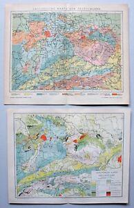 Deutsches Reich - 5 Landkarten Geologie - 1890-1905 / Sammlung 5 Blatt