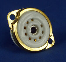 TUBE SOCKET - 9 Pin Preimun Ceramic - Chassis Mount - Gold plated