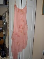 BN BCBG SZ S SILK ASYMMETRICAL HEM FLIRTY DRESS PINK FLOWER APPLIQUES RET $985