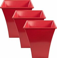 3 x RED Large Plant Pots Planters Indoor Outdoor Garden Tall Plastic Planter