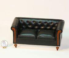 Dollhouse Miniature Black Leather Sofa with a Tufted Back