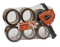 Tape Gun Dispenser + 6 Rolls Heavy-Duty Brown 48mm x 66m Shipping Packing Tape