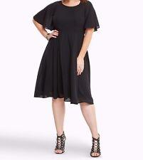 Torrid Georgette Lace Up Back Midi Dress Black 2X 18 20 2 #74149