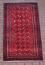 Turkoman Rug  4 x 7  Bokhara  Wool, Hand-Knotted w/Goat Hair Selvedge, Even Pile