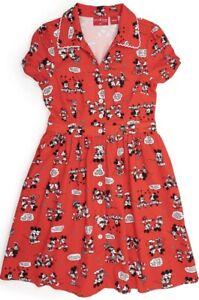 Loungefly Disney Diner Dress Stitch Shoppe Mickey Minnie Comic Strip Red Adult