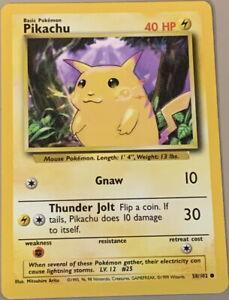 POKEMON Card 1999 BASE SET PIKACHU Yellow Cheeks #58/102 Non-Holo Common MINT!