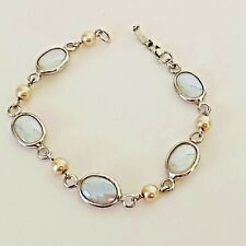 Vintage Judy Lee White Glass Scarab Style Bracelet w/ Pearls - Signed