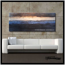 ABSTRACT PAINTING MODERN CANVAS WALL ART Framed Blue Signed 60 US ELOISExxx