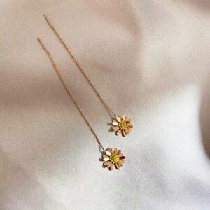 Womens Rose Gold Daisy Flowers Diamonds Titanium Steel Threader Earrings