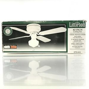 "Littleton 42 in. Indoor White Ceiling Fan with 7"" Light Kit New In Box  270-614"
