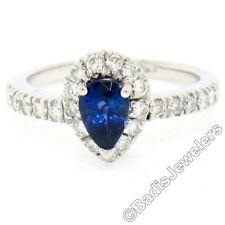 14k White Gold 1.33ctw FINE Pear Sapphire Solitaire Ring w/ Round Diamond Halo