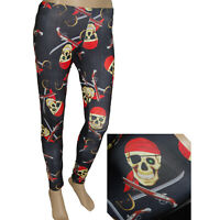 STRETCHY SKULL PIRATE LEGGINGS  ALTERNATIVE YOGA SPORTS SIZE 8-10 HALLOWEEN