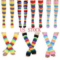 1 Pair Women Stretchable Cotton Rainbow Stripes Knee High Socks Stockings//Gloves