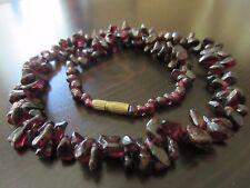 VTG Chinese? Natural Burgundy Pomegranate Stone Beads Garnet Necklace 18IN – 49g