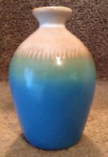 """Turquoise And Beige Hombre Ceramic Bud Vase - 5"""" Tall"""