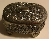 """Vintage 2 3/4"""" x 1 3/4""""  Silver Plated Jewelry Trinket Box = Red Velvet Lined"""