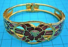 Gold tone hinged bracelet bangle Bt826*) Vintage Red Enamel Cloisonné flower