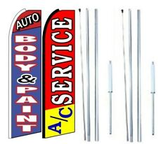 Auto Body n Paint AC Service Swooper Flag with Hybrid Pole set - Pack of 2