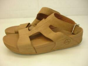 Womens 11 M FitFlop Arena Sandals Tan Nubuck Sandals Gladiator Ankle Strap Wedge
