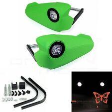 Green Vision LED Light 7/8'' Handlebar Brush Hand Guard For Dirtbike Motorcycle