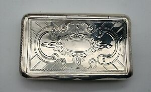 GOOD CONDITION DUTCH / NETHERLANDS ANTIQUE STERLING SILVER SNUFF BOX DATED 1872