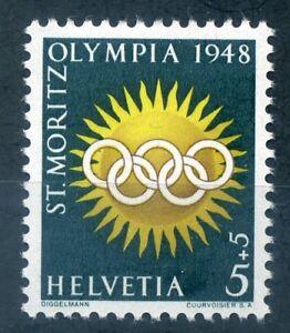 Switzerland 1948 5c+5c Winter Olympics stamp unmounted mint
