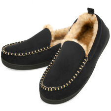 Men's Fuzzy Moccasin Slippers Warm Memory Foam Indoor Outdoor House Shoes