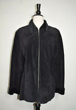 ALFANI  LEATHER SUEDE JACKET COAT BLACK WOMEN'S SIZE MEDIUM