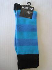 ZOO YORK Men's Aqua Blue Striped Pattern Crew Socks One Size Fits 10-13 NWT