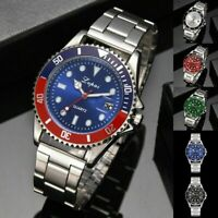 Fashion Luxury Mens Crystal Dial Watch Stainless Steel Analog Quartz Wrist Watch